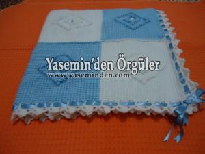 Model 011 - Mavi Beyaz Balkavalı Battaniye