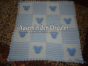 Model 002 - Bebe Mavi Beyaz Ayıcıklı Battaniye