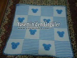 Model 004 - Mavi Beyaz Ayıcıklı Battaniye