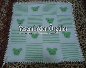Model 003 - Su Yeşili Beyaz Ayıcıklı Battaniye