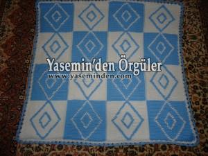 Model 008 - Mavi Beyaz Büyük Baklavalı Battaniye