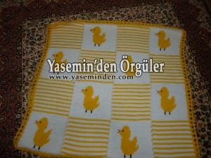 Model 015 - Sarı Beyaz Civcivli Battaniye