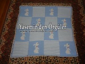 Model 014 - Bebe Mavi Beyaz Tavşanlı Battaniye