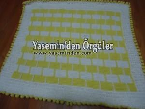 Model 020 - Sarı Beyaz Tuğlalı Battaniye