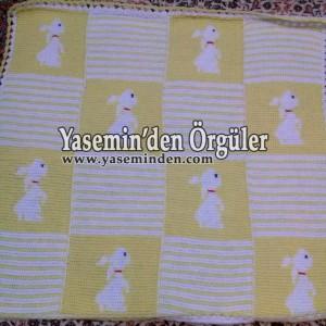 Model 013 - Sarı Beyaz Tavşanlı Battaniye